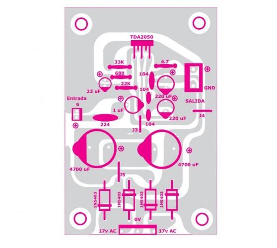 componentes 558x500 Amplificador mono com tda2050 de 30w!