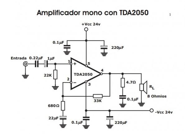esquema 595x433 Amplificador mono com tda2050 de 30w!