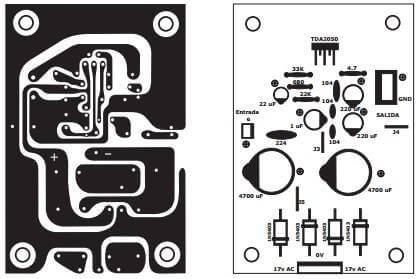 layout Amplificador mono com tda2050 de 30w!