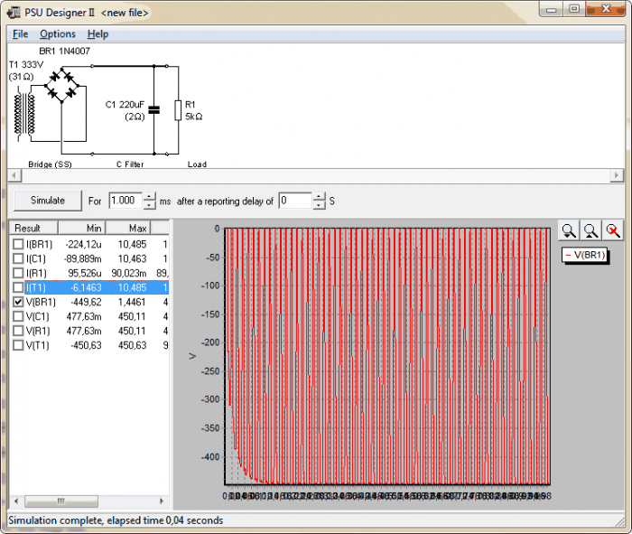 PSU Designer II 700x591 Download PSU Designer II   Fontes para amplificadores valvulados Fontes Desenho de esquemas Calculadoras