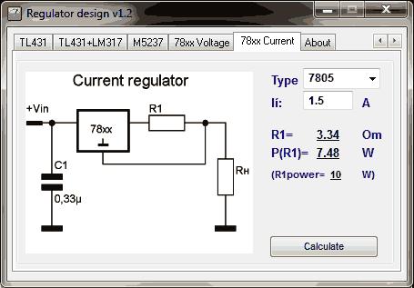 Regulator Designer 78xx corrente Download Regulator Designer   Cálculos de reguladores de tensão
