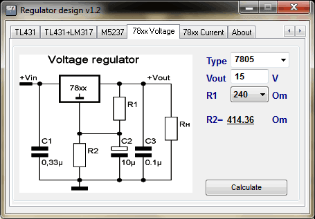 Regulator Designer 78xx Download Regulator Designer   Cálculos de reguladores de tensão
