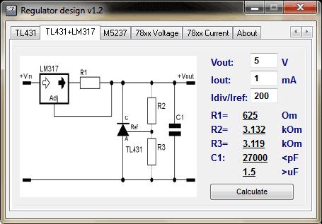 Regulator Designer tl431 lm317 Download Regulator Designer   Cálculos de reguladores de tensão