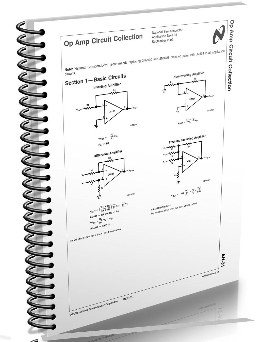Download Application Note 31 Coleo De Circuitos Op Amp Te1 Summing Amplifier An31 Texas Opamp 700x923 Teste E