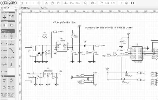 Schematic PCB layout circuit Simulator 1 EasyEDA   Software de simulação de circuitos e design de PCB Software de eletrônica Simulador Desenho de esquemas Desenho circuito impresso Cloud