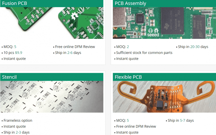 Seeedstudio pcb prototipo 700x438 Melhores fabricantes de protótipos de PCB (Placa de circuito impresso) Tutoriais Software de eletrônica placa de circuito impresso pcb Dicas Desenho de esquemas Desenho circuito impresso