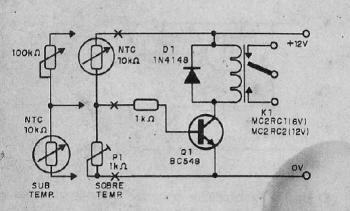 esquema sensor1 350x211 Sensor de temperatura usando NTC – Acionando Ventoinhas