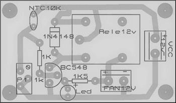 placa lado dos componentes 350x205 Sensor de temperatura usando NTC – Acionando Ventoinhas
