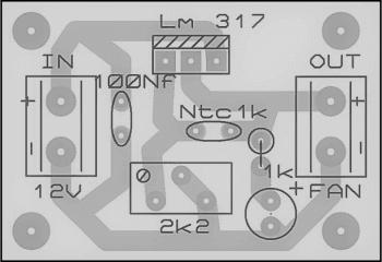 Placa lado dos componentes2   sensor de temperatura usando ntc – acionando ventoinhas