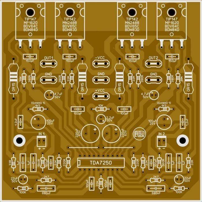 Audio Amplifier TDA7250, Amplificador com Bias Automático com CI TDA7250