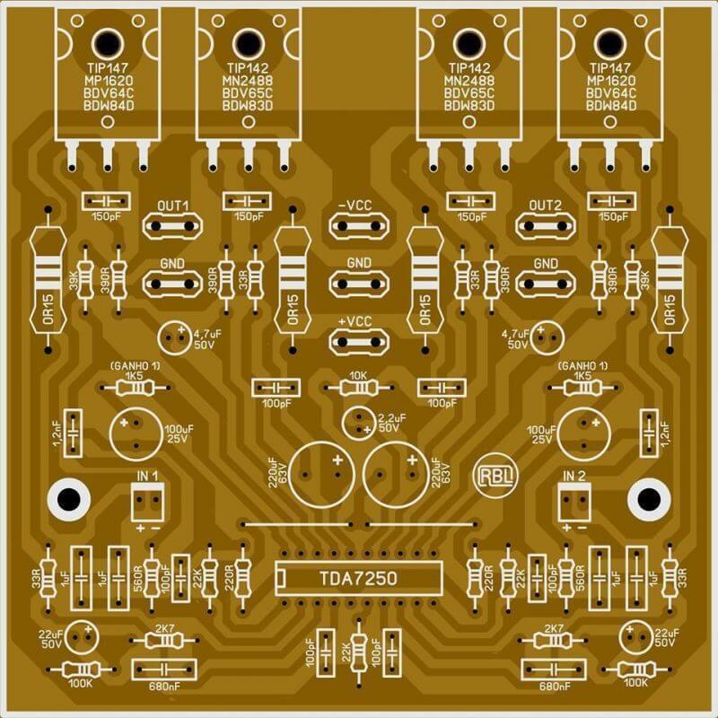 Amplificador Com Bias Automático Com Ci Tda7250 Placa De Cicrcuito Impresso