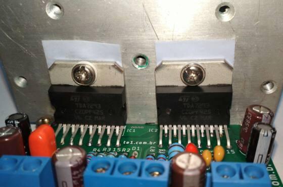 Amplificador de potência com CI TDA7293 em paralelo, modular