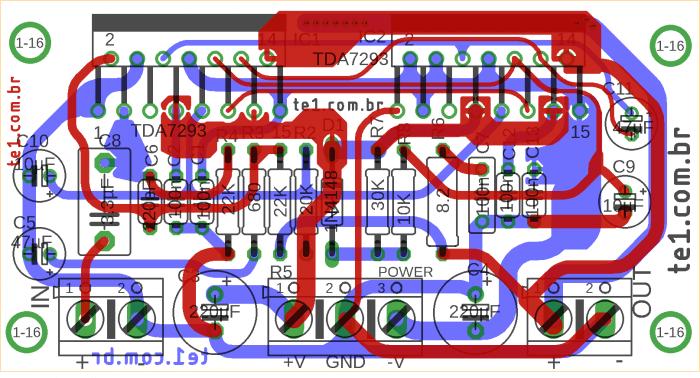 tda7293, Circuito de amplificador com CI TDA7293 em paralelo #Minimus