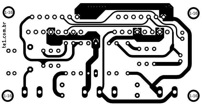 Placa de circuito impresso do amplificador em paralelo com TDA7293 PCB Minimus