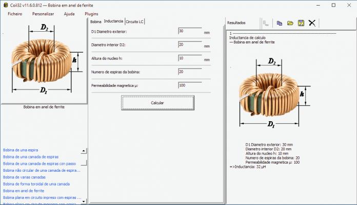 Coil32 - a calculadora de indutância da bobina.