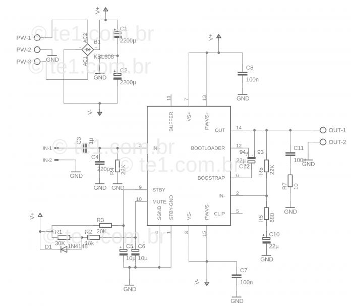 minimus amplificador potência ci tda7293 ou tda7294 700x609 #Minimus   Amplificador potência CI TDA7293 ou TDA7294 com fonte tda7294 tda7293 tda Circuitos Áudio amplificador de potência amplificador de áudio Amplificador