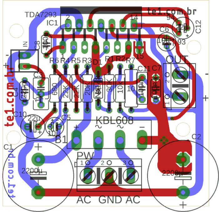 Série #minimus agora com mini amplificador usando CI TDa7293 ou TD7294 com fonte inclusa na placa para montagem compacta em um esquema básico