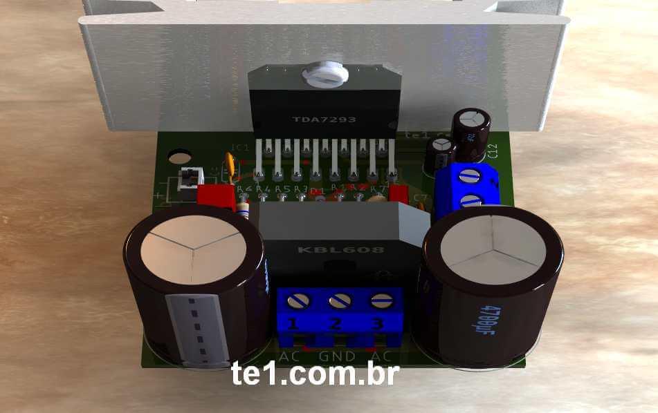 #Minimus - Amplificador potência CI TDA7293 ou TDA7294 com fonte