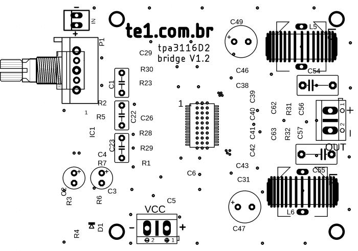 circuito amplificador potência ci tpa3116d2 classe d digital 3  Amplificador, amplificador de áudio, amplificador de potência, Áudio, Circuitos, Classe D, TPA3116, tpa3116d2 amplifier board, tpa3116d2 mercado livre, tpa3116d2 venda Circuito amplificador potência áudio CI TPA3116D2 Classe D