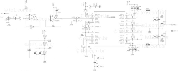 circuito de amplificador de potência com ci tpa3116d2  Amplificador, amplificador de áudio, amplificador de potência, Áudio, Circuitos, Classe D, TPA3116, tpa3116d2 amplifier board, tpa3116d2 mercado livre, tpa3116d2 venda Circuito amplificador potência áudio CI TPA3116D2 Classe D