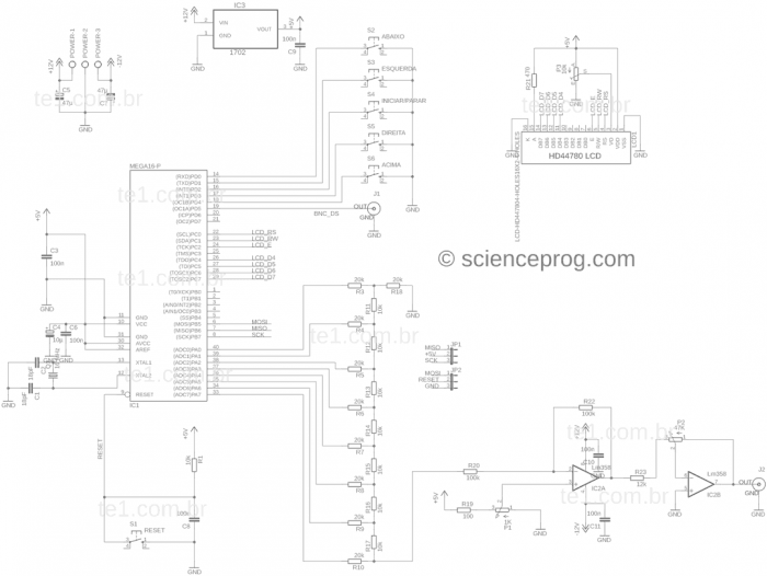 Esquema do gerador de funções com Atmeg16A