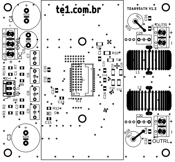 circuito amplificador ci tda8954 classe d 2x 210w 3 amplificador TDA8954 Amplificador, amplificador de áudio, amplificador de potência, Áudio, Circuitos, Classe D, tda, tda8954, TDA8954TH Circuito amplificador CI TDA8954TH Classe D 2x 210W