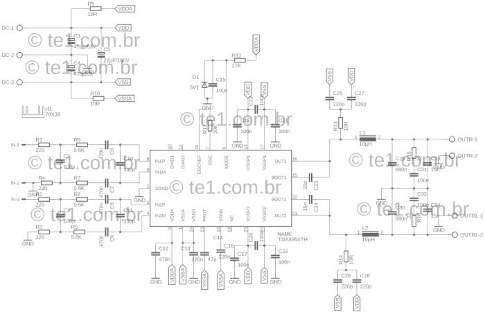 circuito amplificador ci tda8954 classe d 2x 210w amplificador TDA8954 Amplificador, amplificador de áudio, amplificador de potência, Áudio, Circuitos, Classe D, tda, tda8954, TDA8954TH Circuito amplificador CI TDA8954TH Classe D 2x 210W