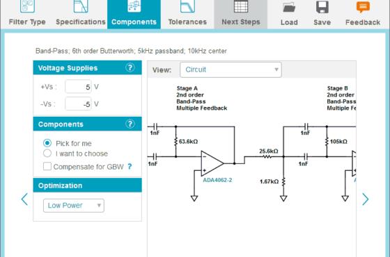 Use o assistente de filtro analógico (analog filter wizard) para projetar filtros passa-baixa, passa-alta ou passa-banda