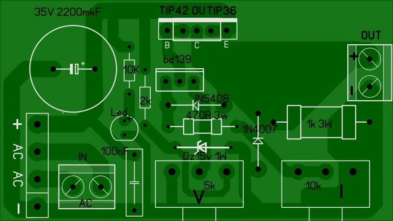Circuitos De Fonte De Tensão E Corrente Com Transistor Com Tip42 Ou Tip36 Bd139