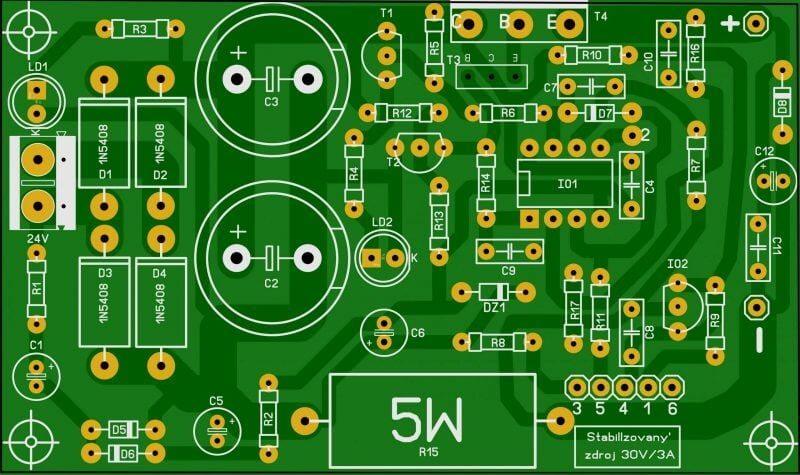 Fonte De Tensão E Corrente Com Ne5532 — Variante Do Kit Chinês. Placa De Circuito Impresso
