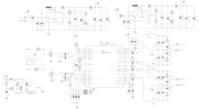 Esquema do amplificador com tpa3116
