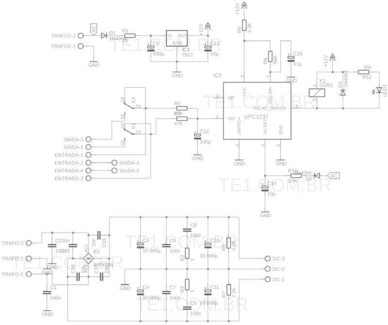 Esquema fonte simétrica com proteção dc upc1237