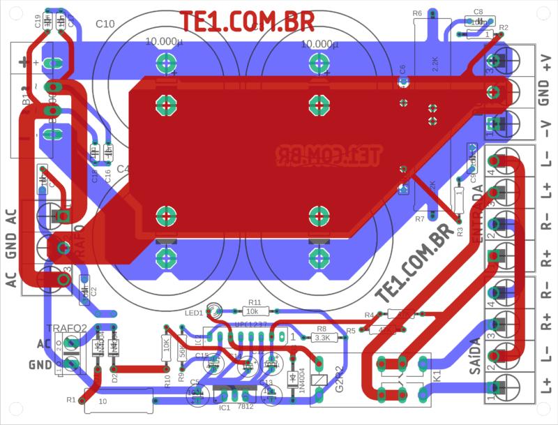 Placa de circuito impresso vista dos componentes topo