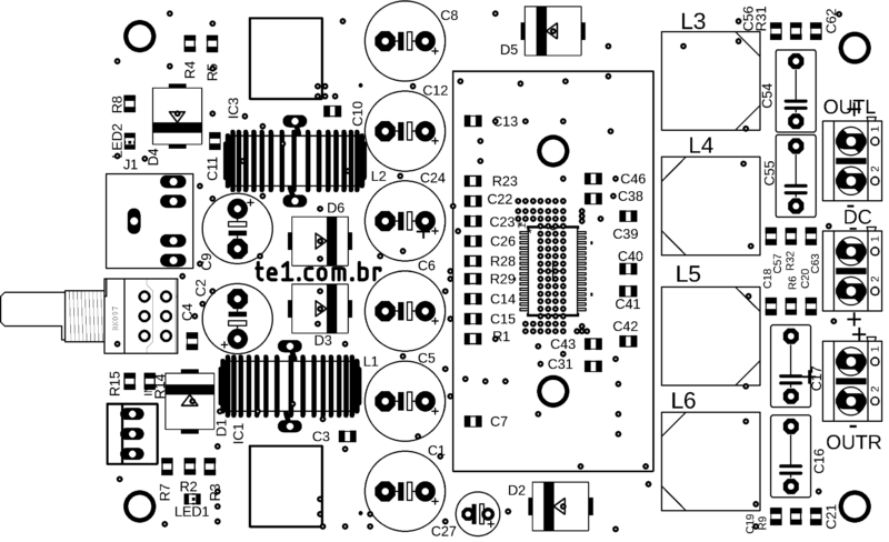 Placa de circuito impresso pcb tpa3116 - bottom-layer top-overlay