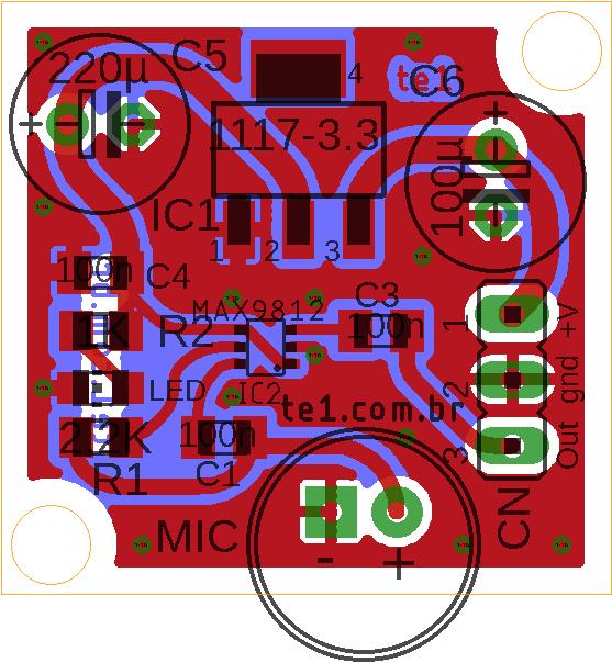 Placa de circuito impresso vista componentes max9812