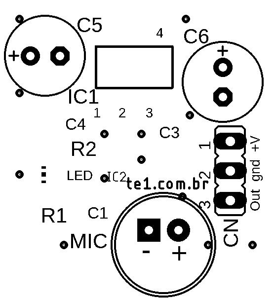 Placa de circuito impresso max9812 silk