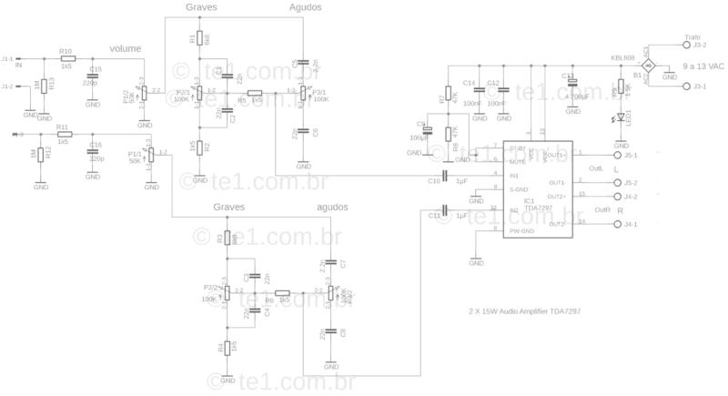Esquema do amplificador com tda7297