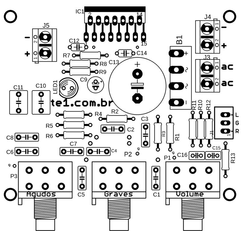 Tda7297 silk de componentes