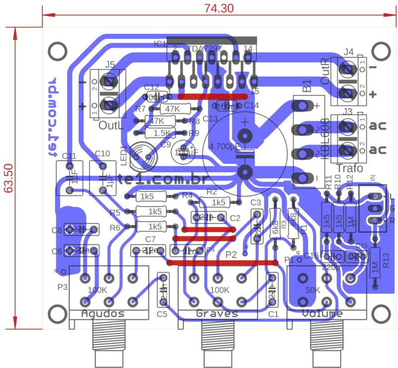 Tda7297 vista de componentes