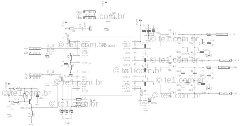 Tpa3116 tpa3118 tpa3130 amplificador esquema