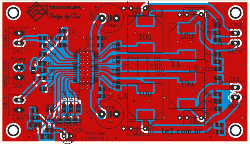 Tpa3116d2, tpa3118d2 e tpa3130d2 pcb layout