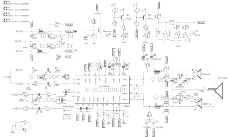 Esquema amplificador classe d tda8954
