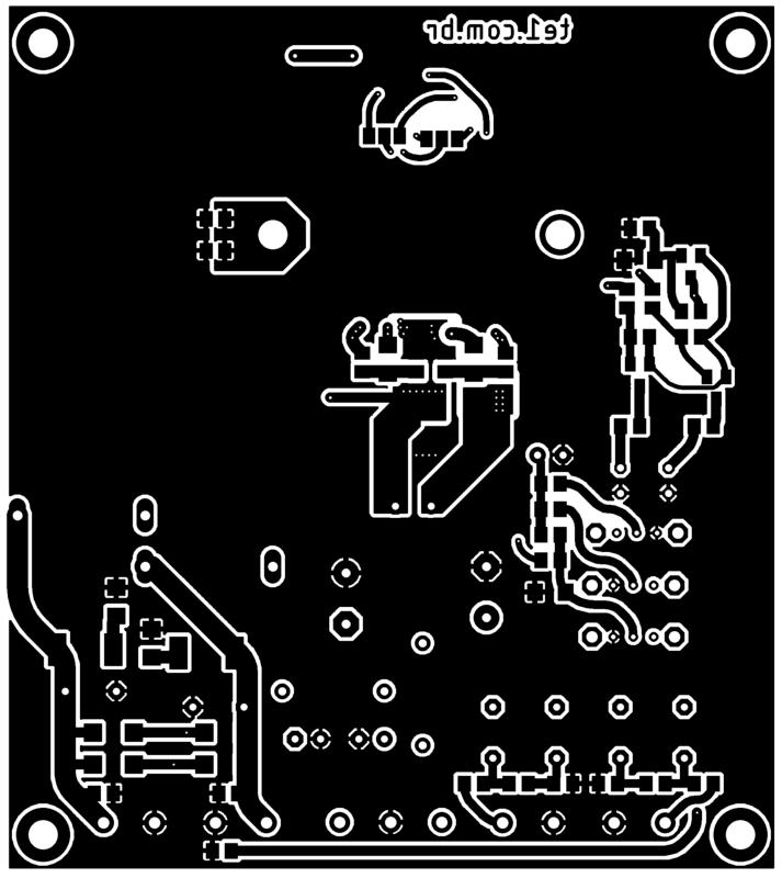 Pcb amplificador classe d tda8954 potencia bottom