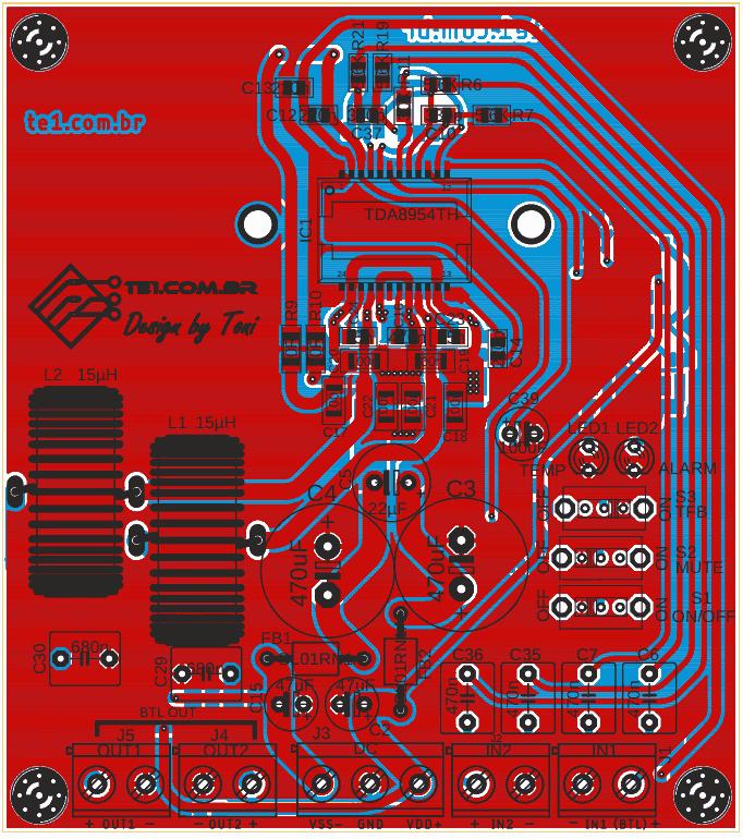 Placa vista componentes top amplificador classe d tda8954 potencia