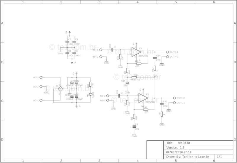 Amplificador Tda2030 Tda2050 Tda2040 Lm1875 Esquema