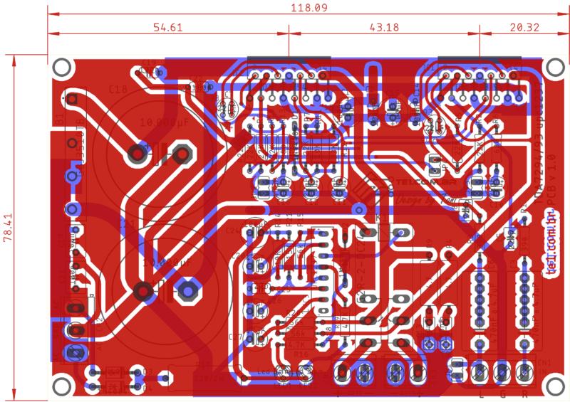 Amplificador tda7294 ou tda7293 com proteção upc1237 placa de circuito impresso vista dos componentes
