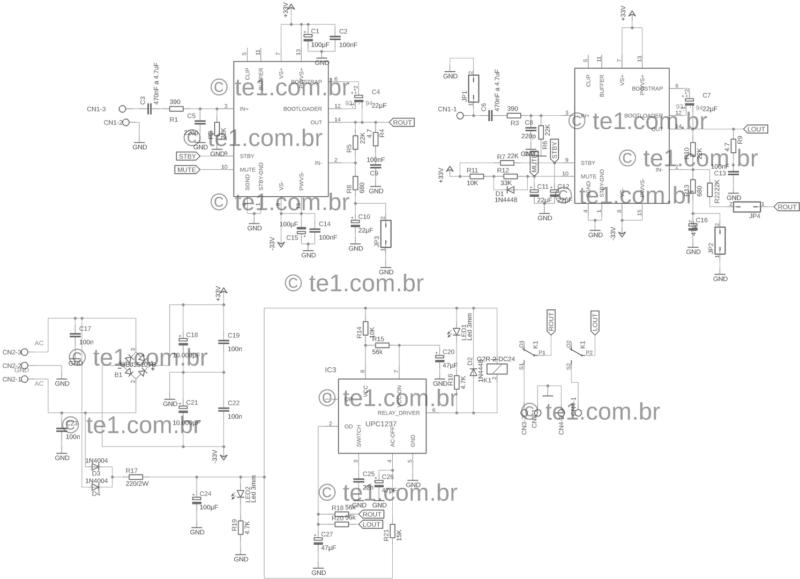 Amplificador tda7294 ou tda7293 com proteção upc1237 esquema do amplificador dinâmico em ponte ou estéreo